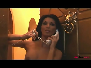 Naked slim chick on the phone is hot stuff