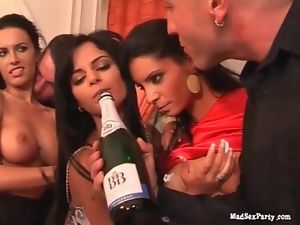 Champagne dumped on sexy sluts