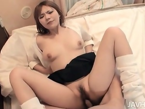 Sweetheart in a short skirt fucked in hairy hole