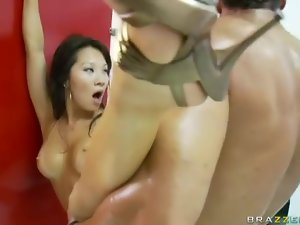 Horny Asian Asa Akira fucked in bathroom