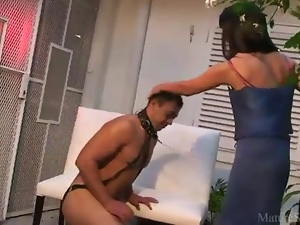 Collared man worships milf pussy
