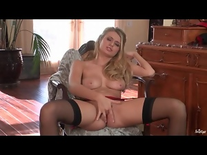 Stockings and garter belt masturbation with blonde