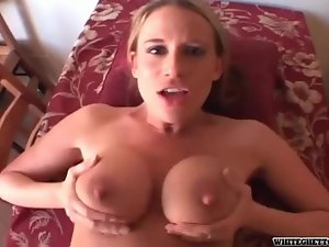 He parts her pussy with big cock in POV