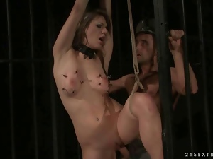 Girl gets tied up and fucked hard in jail