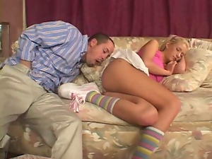 Little blond babysitter gets naughty