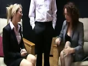 Corporate women decide to tug for this lucky guy
