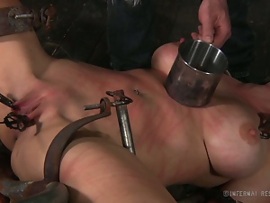 Hot brunette slave gets viciously tortured