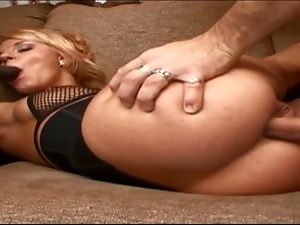Slutty blonde drilled in double penetration style