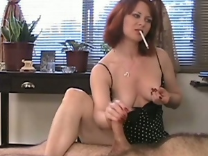 Busty whore mina smoking fetish handjob