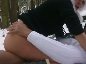 Horny and romantic couple sex on snowy day