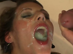 Nasty babe drenched with jizz