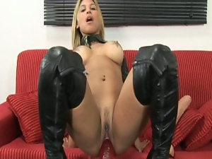 Hot military girl takes huge dildo