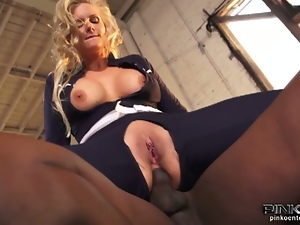 Busty blonde interracial fucking