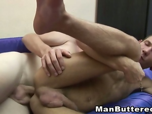 Gay stud gets barebacked before felching his buddy