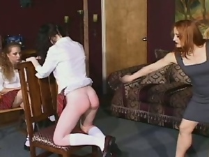 Two bitchy schoolgirls butt spanking lessons