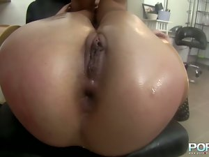 Hot babe gets her all holes filled by big cock.