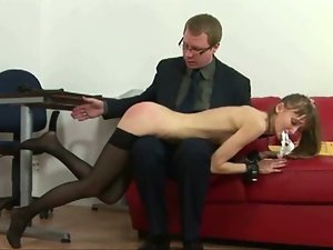 Skinny brunette secretary spanked hard