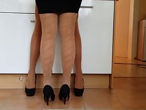 Crossdresser with slutty wife in pantyhose #2