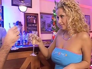 Curly haired euro light-haired gets dped in a bar BB
