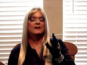 Maggie Jayne Smokes in Leather Gloves