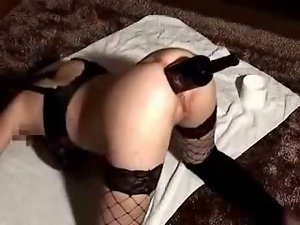 Deep grinding stunning anal of my cunt with wine bottle. Amateur