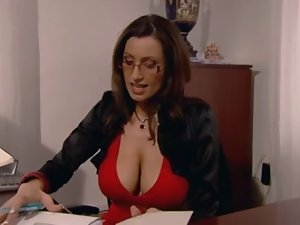 Secretary with huge knockers banged in the office