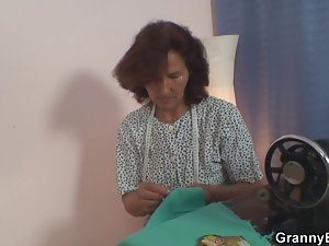 Sewing granny delights riding 19yo shaft