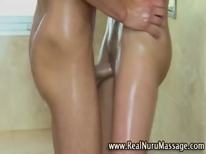Masseuse young woman shower cock sucking