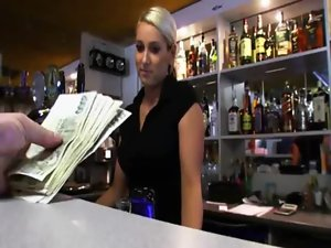 Big melons amateur bartender payed and banged at the bar