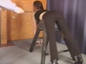 Bad Lady Being Spanking (Caning)