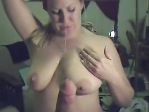 Mouthfuck to cum then she drools it in between her knockers
