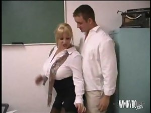 Attractive Buxom Teacher Kandi Cox, dick sucking dick sucking cum cumshot cum shot light-haired chesty bigboobs bigtits