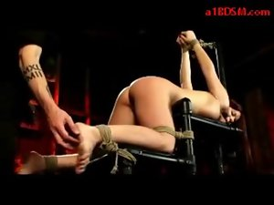 Young lady Tied To Bench In Doggy Tickled Tortured With Clips Whipped vulva Shagged With Toy By Master In