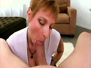 Seductive mom licking penis for this extremely happy fellow