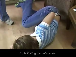 Stupid hairdresser wild spanked and banged by mad client