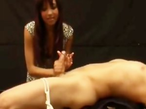 Handjob on Tied Chap with post orgasm torture