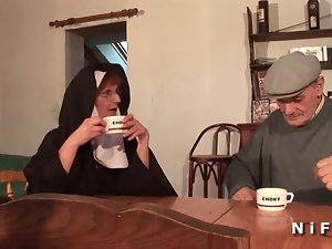 A french nun rough sodomized in threeway