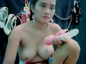 Big tit asian exposes tits, clamps, strokes Part 2