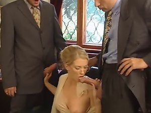 Awesome luscious blond Crazy threesome action