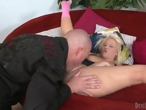 Big ass blonde drops to her knees and eats dick