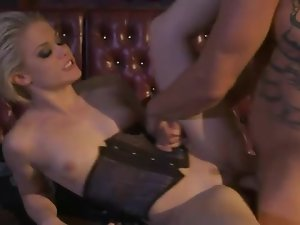 Ash Hollywood in a tight corset laid lustily