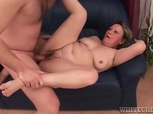 Horny granny with hairy muff getting pumped by younger dude