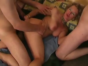 Spit roasting and DP fucking mature slut