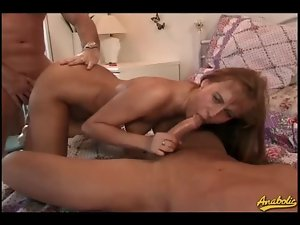 Teen hottie with perfect ass sandwiched between cocks