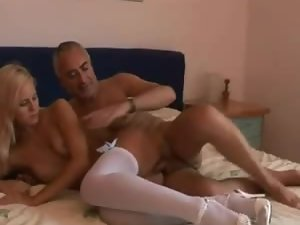 Old guy does 69 and fuck with young blonde