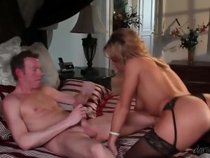 Classy milf in sexy lingerie bouncing on big cock