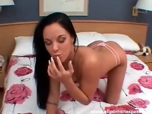 Brunette with perfect pierced pussy masturbating
