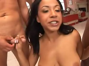 Black girl is here to suck cock in blowbang