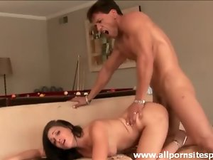 Lustful brunette with pierced pussy getting drilled deep