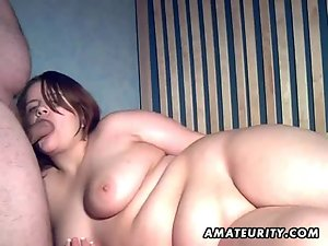 Chubby amateur wife sucks and fucks with creampie